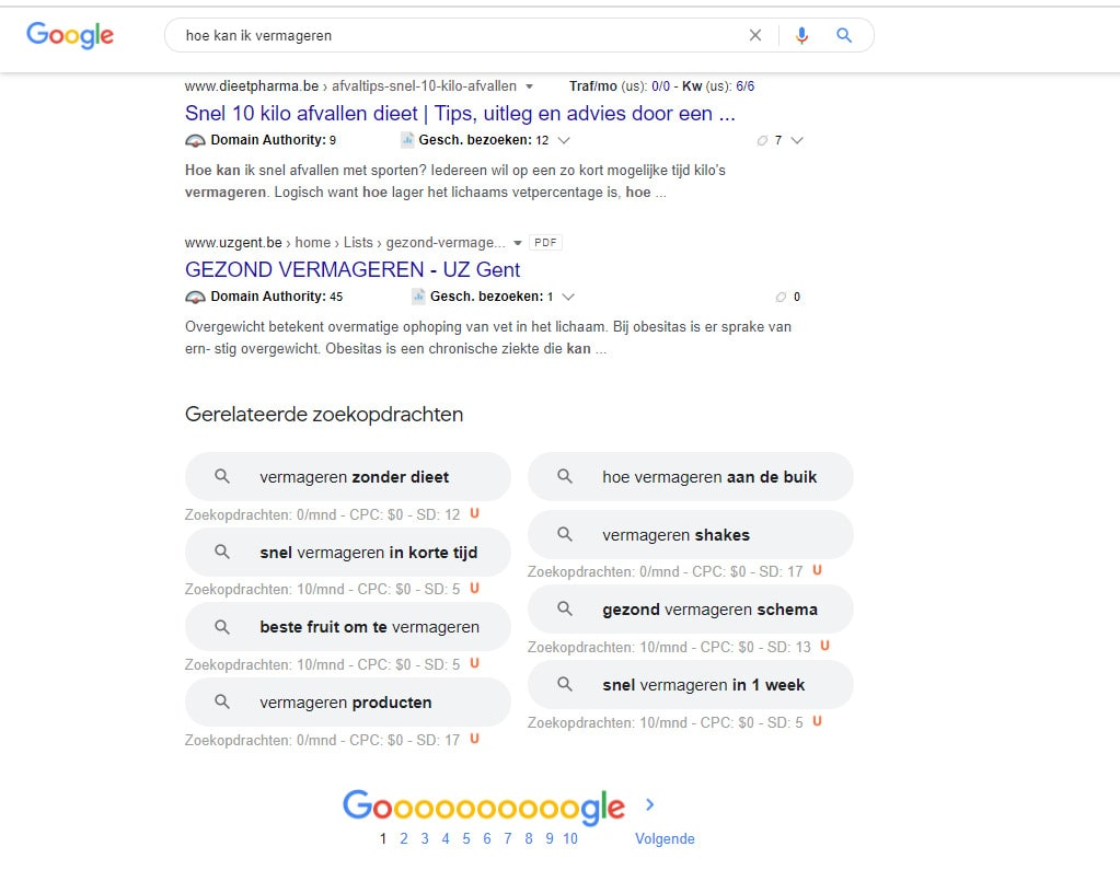 Google SEO suggesties